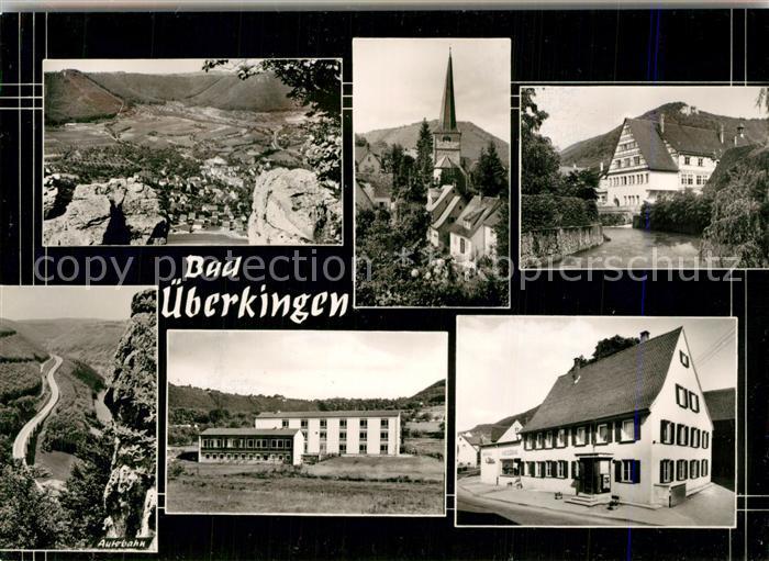 AK / Ansichtskarte Bad_ueberkingen Panorama Kirche Partie am Fluss Hotelfachschule Autobahn Felsen Bromsilber Bad_ueberkingen 0