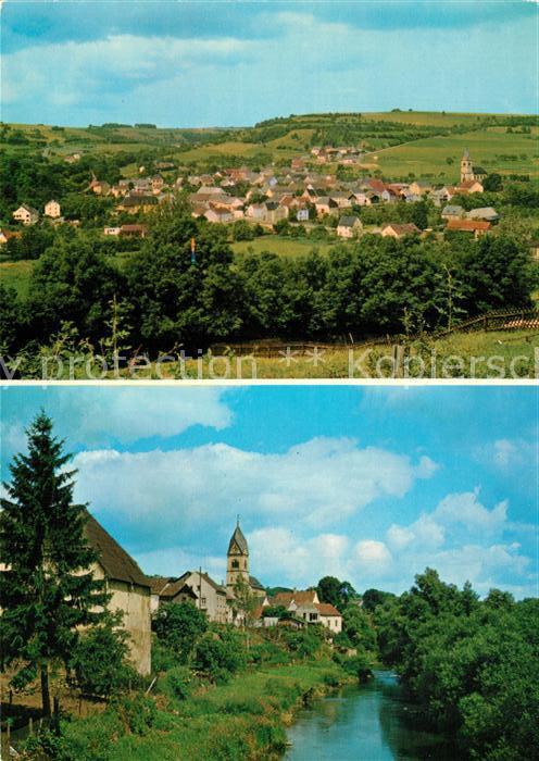 AK / Ansichtskarte Oberweis_Eifel Panorama Partie am Fluss Blick zur Kirche Oberweis Eifel