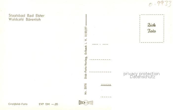 AK / Ansichtskarte Elster_Bad Waldcafe Baerenloh Elster_Bad 1