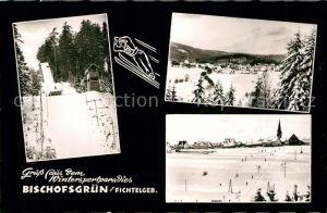 AK / Ansichtskarte Bischofsgruen Sprungschanze Winterpanorama Bischofsgruen