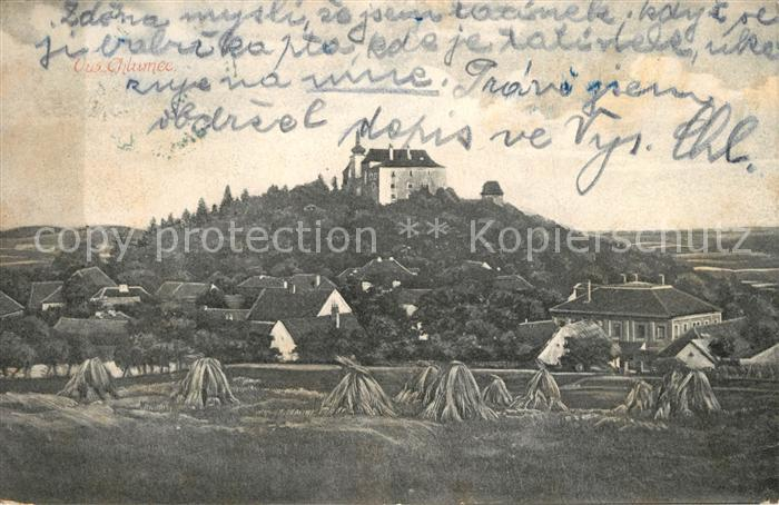 AK / Ansichtskarte Vysoky_Chlumec Blick ueber die Felder zur Burg