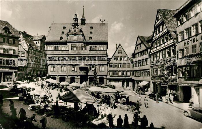 AK / Ansichtskarte Tuebingen Marktplatz Rathaus Tuebingen 0