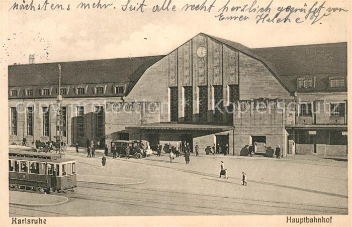 AK / Ansichtskarte Karlsruhe_Baden Hauptbahnhof Strassenbahn Karlsruhe_Baden 0
