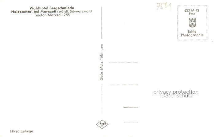 AK / Ansichtskarte Marxzell Waldhotel Bergschmiede Dammwild Holzbachtal Marxzell 1