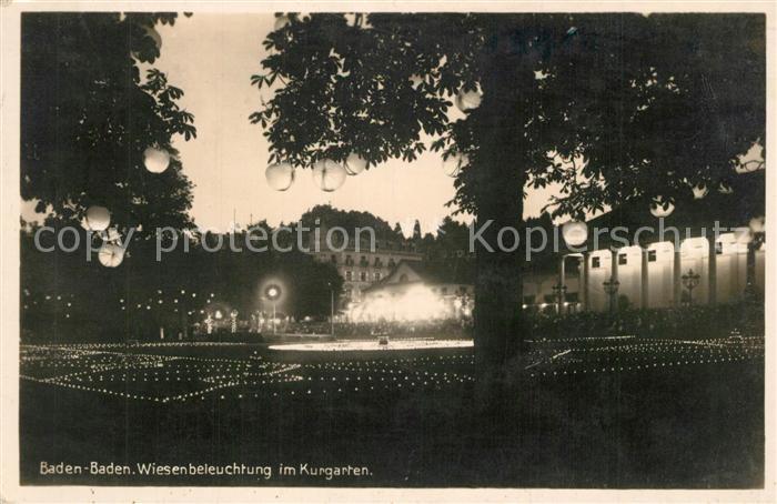 AK / Ansichtskarte Baden Baden Kurgarten Wiesenbeleuchtung Kurgarten Nachtaufnahme Baden Baden 0