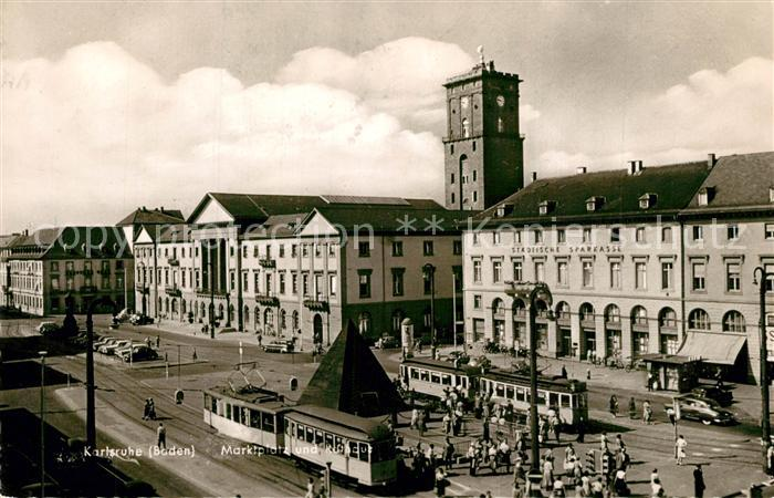 AK / Ansichtskarte Karlsruhe_Baden Marktplatz Karlsruhe_Baden 0