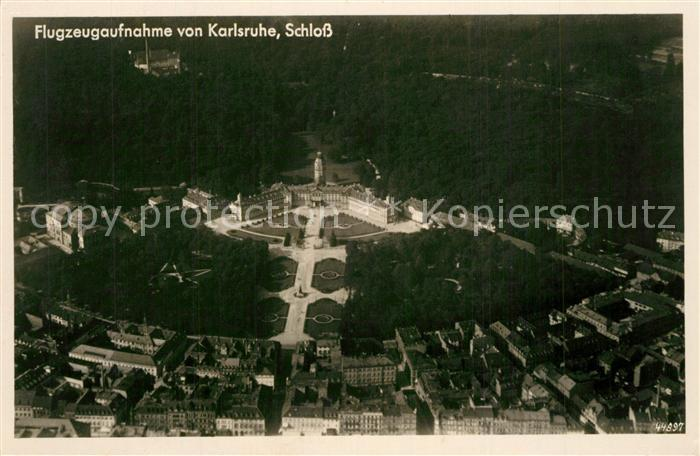 AK / Ansichtskarte Karlsruhe_Baden Fliegeraufnahme Schloss Karlsruhe_Baden 0