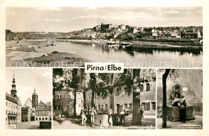 AK / Ansichtskarte Pirna Elbepartie Markt Plan Erlenpeterbrunnen Pirna 0