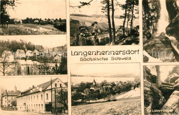 AK / Ansichtskarte Langenhennersdorf Forsthaus Siedlung Wasserfall Kulturhaus Labyrinth Langenhennersdorf