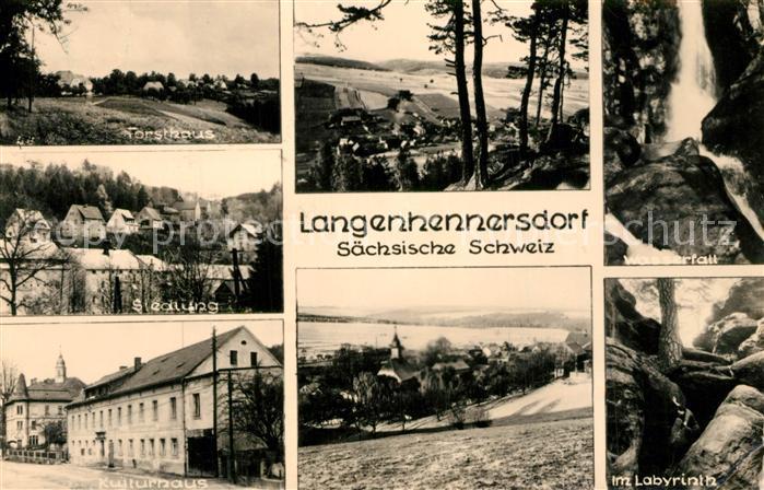 AK / Ansichtskarte Langenhennersdorf Forsthaus Wasserfall Siedlung Kulturhaus Labyrinth Langenhennersdorf