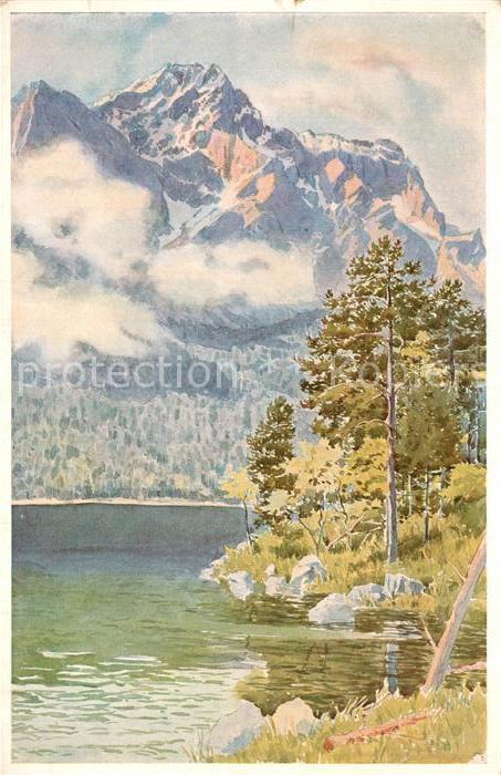 AK / Ansichtskarte Eibsee mit Zugspitze Aquarell Eibsee