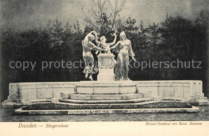 AK / Ansichtskarte Dresden Buergerwiese Mozart Denkmal Dresden 0