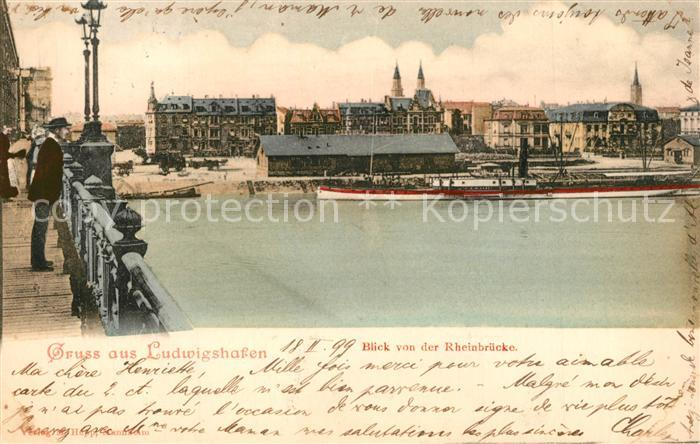 AK / Ansichtskarte Ludwigshafen_Rhein Blick von der Rheinbruecke Ludwigshafen Rhein 0