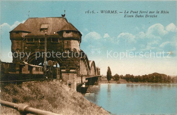 AK / Ansichtskarte Worms_Rhein Eisenbahnbruecke Worms Rhein