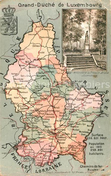 AK / Ansichtskarte Luxembourg_Luxemburg Grand Duche de Luxembourg Landkarte Luxembourg Luxemburg 0