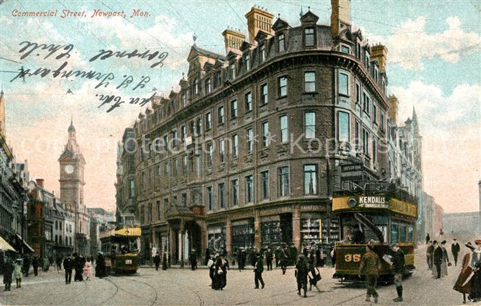 AK / Ansichtskarte Newport_Monmouthshire Commercial Street Tram  0