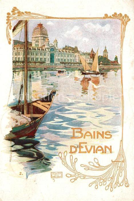 AK / Ansichtskarte Evian les Bains_Haute_Savoie Le Port Dessin Kuenstlerkarte Evian les Bains_Haute 0