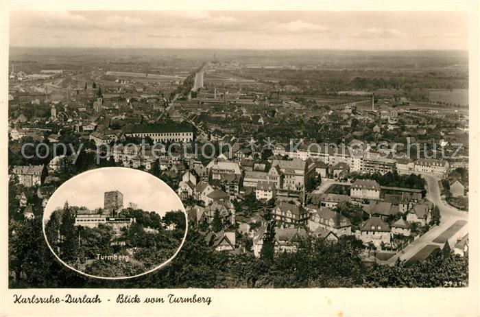 AK / Ansichtskarte Durlach Blick vom Turmberg Stadtpanorama Durlach