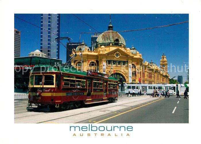AK / Ansichtskarte Strassenbahn Melbourne Australia Flinders Street