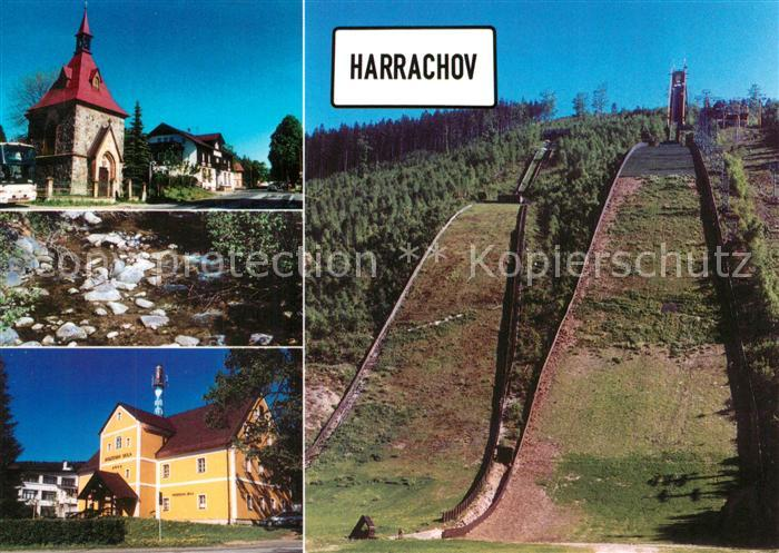 AK / Ansichtskarte Ski Flugschanze Harrachov Kapelle Hotel Karolina Glasmuseum