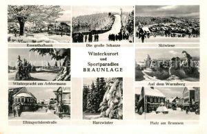AK / Ansichtskarte Braunlage Rosenthalbank grosse Schanze Skiwiese Wurmberg Achtermann Winter Braunlage