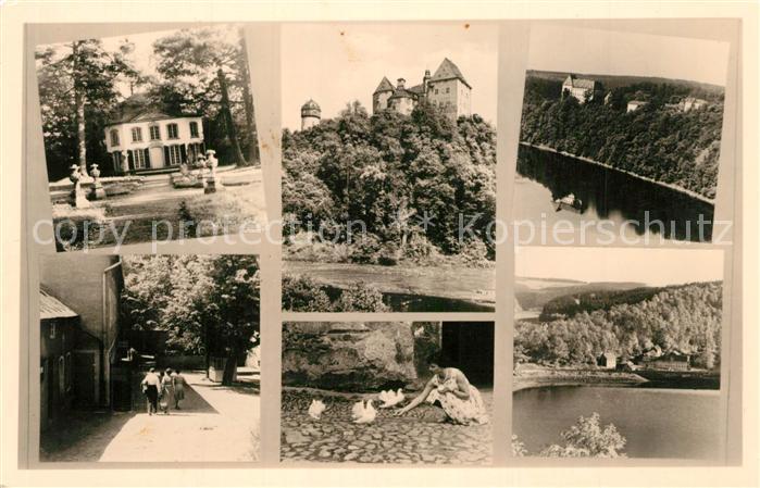 AK / Ansichtskarte Burgk_Saale Orla Kreis Schloss Park Landschaftspanorama mit der Saale Burgk_Saale Orla Kreis