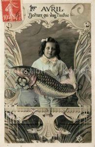 AK / Ansichtskarte Datumskarte 1er Avril Kind Fisch Foto PC Nr. 4523
