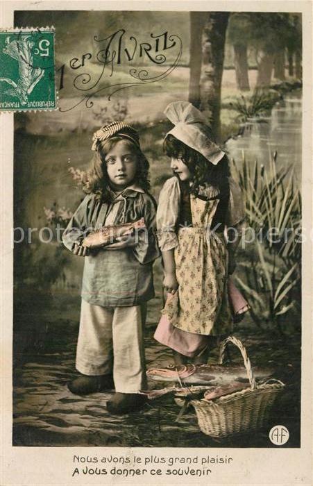 AK / Ansichtskarte Kinder_Child_Enfants 1er Avril Fisch