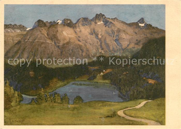 AK / Ansichtskarte Kuenstlerkarte E. Kreidolf St. Moritzersee