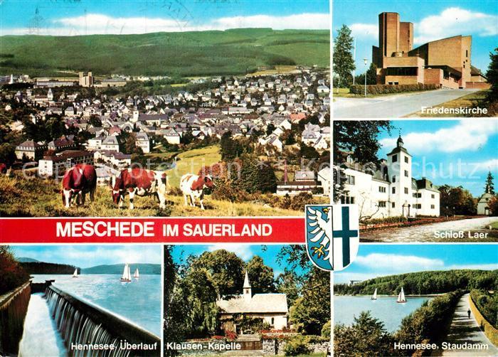 AK / Ansichtskarte Meschede Panorama Kuehe Kirche Schloss Laer Hennesee Staudamm Kapelle Meschede