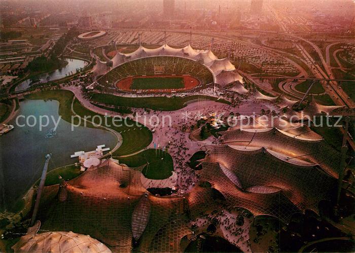 AK / Ansichtskarte Stadion Muenchen Olympiapark Fliegeraufnahme