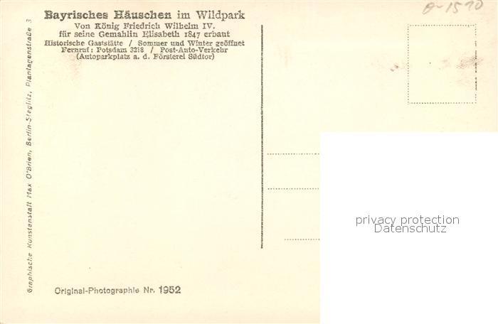 Historische Karte Potsdam.Ak Ansichtskarte Potsdam Historische Gaststaette Waldblick Bayrisches Haeuschen Mit Rotwild Potsdam