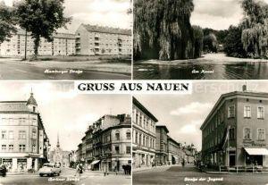 AK / Ansichtskarte Nauen_Havelland Hamburger Strasse Wohnblocks Hochhaeuser Kanal Strassenpartien Innenstadt Nauen_Havelland