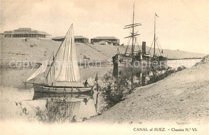 AK / Ansichtskarte Suez Kanal Segelfrachtschiff Suez