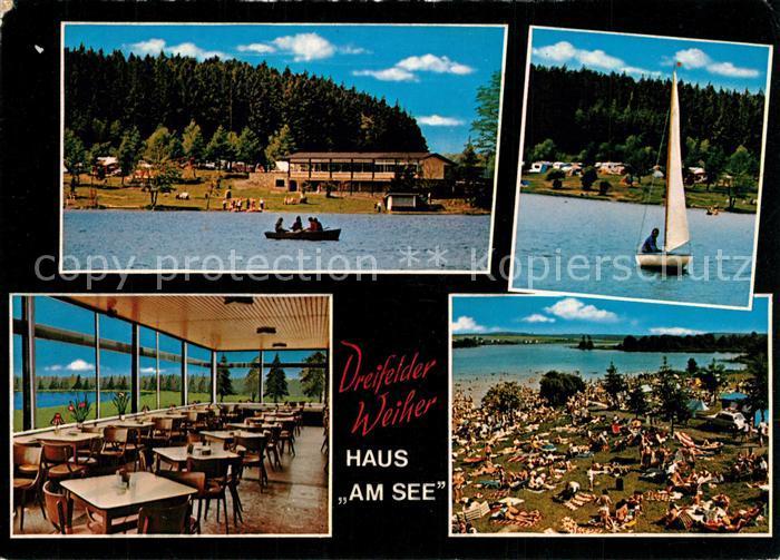 AK / Ansichtskarte Schmidthahn Haus am See Gaststaette Campingplatz Bootsverleih Dreifelder Weiher Badestrand Schmidthahn