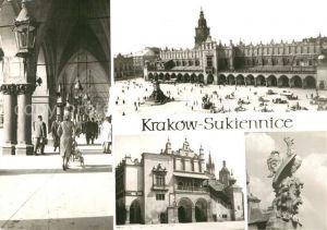 AK / Ansichtskarte Krakow_Krakau Sukiennice kramy kupieckie Arkady loggia Padovana maszkaron Krakow Krakau