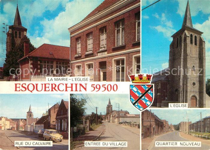 AK / Ansichtskarte Esquerchin La Mairie l'Eglise Rue du Calvaire Entree du Village Quartier Nouveau Esquerchin