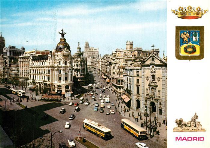 AK / Ansichtskarte Madrid_Spain Calle de Alcala y Avenida Jose Antonio Wappen Krone Madrid Spain