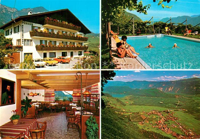 AK / Ansichtskarte Tramin_Weinstrasse  Pension Rechtenthal Gastraum Swimming Pool Landschaftspanorama Alpen Tramin_Weinstrasse