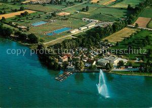 AK / Ansichtskarte Kreuzlingen_Bodensee Fliegeraufnahme mit Camping und Schwimmbad Kreuzlingen Bodensee