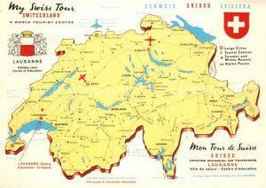 AK / Ansichtskarte Schweiz_Region Landkarte Swiss Tour Lausanne La Rade d Ouchy