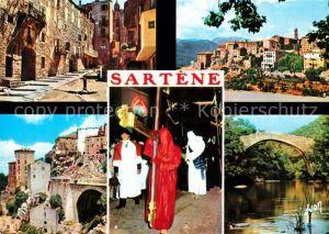 AK / Ansichtskarte Sartene Vieille rue Entree de la ville Procession du Catenacciu Riviere dans le maquis Sartene