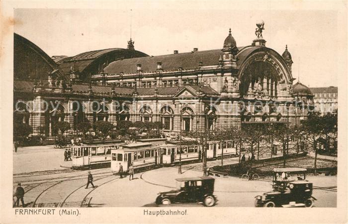 AK / Ansichtskarte Strassenbahn Frankfurt am Main Hauptbahnhof