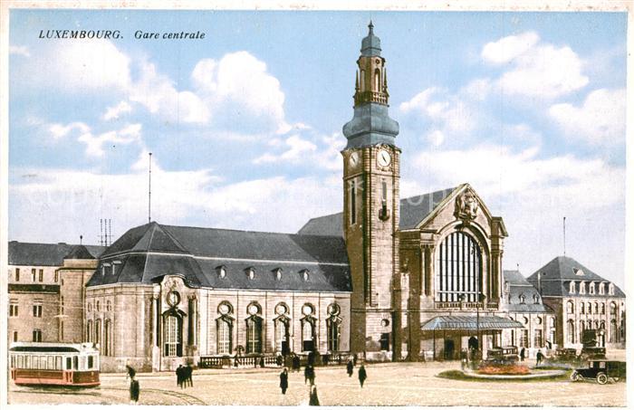 AK / Ansichtskarte Luxembourg_Luxemburg Gare centrale Strassenbahn Luxembourg Luxemburg