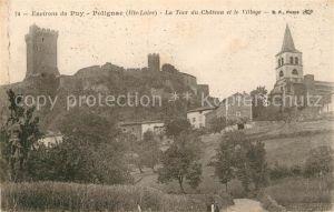 AK / Ansichtskarte Polignac_Haute Loire La Tour du Chateau et le Village Eglise Polignac Haute Loire