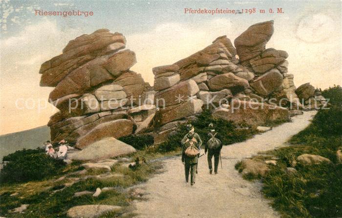 AK / Ansichtskarte Wandern Riesengebirge Pferdekopfsteine   0