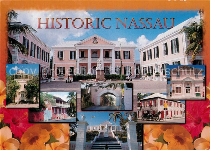 AK / Ansichtskarte Nassau_Bahamas Houseof Assembly Public Library Vendue House Gregorys Arch Magna Carta Court Balcony House Government House Nassau Bahamas