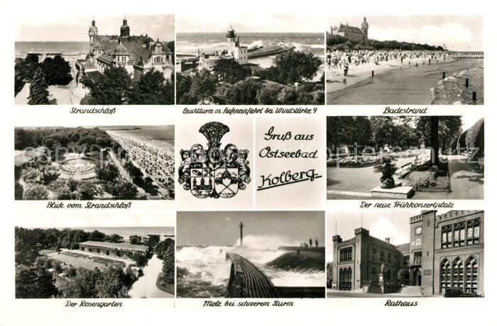 AK / Ansichtskarte Kolberg_Ostseebad_Kolobrzeg Strandschloss Strand Rosengarten Mole  Kolberg_Ostseebad