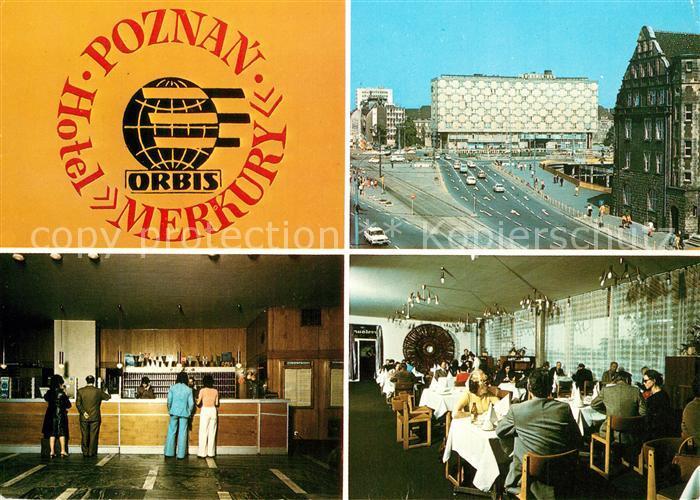 AK / Ansichtskarte Poznan_Posen Hotel Merkury Rezeption Restaurant Strassenpartie Innenstadt Poznan Posen