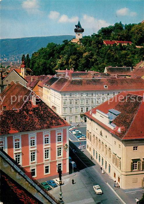 AK / Ansichtskarte Graz_Steiermark Schauspielhaus Uhrturm Graz_Steiermark